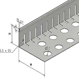 Versandmetall Petite bande de gravier avec plie - acier inoxydable - perforé - 90 °.