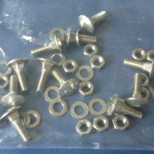 12 Stück Flachkopfschraube mit Vierkantansatz M5, Scheibe, Mutter 1.4301 (A2) rostfrei