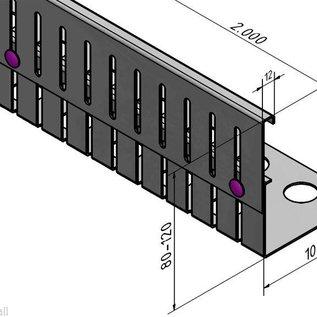 Versandmetall Grindkeringsprofiel grindprofiel hoogte verstelbaar roestvrij Staal 1.4301 Hoogte 80-120mm gezet 90°