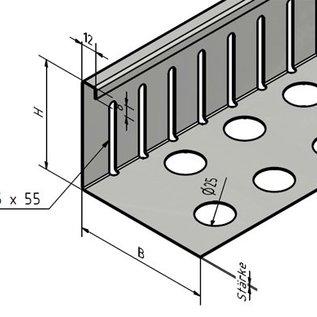 Versandmetall Grindkeringsprofiel Grindprofiel klein Aluminium geperforeerd Höhe 40-75mm gezet90°