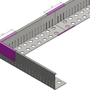 Versandmetall Bande de gravier  petite - aluminium Al99.5 - non perforée - pliée à 90 °