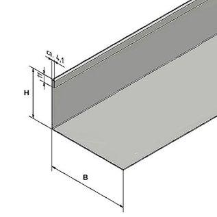 Versandmetall Grindkeringsprofiel Grindprofiel klein dubbele bovenrand roestvrij Staal niet geperforeerd hoogte 40 - 75 mm