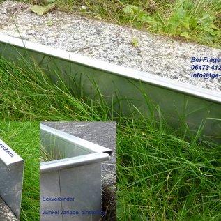 Versandmetall Gazonranden Grindkeringsprofielen Perkranden roestvrij staal 130-200mm hoog, b = 20 mm breedte