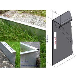 Versandmetall Extra hohe Rasenkanten Kiesleisten aus Edelstahl 250mm hoch