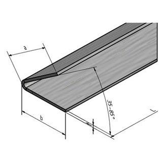 Versandmetall -2x Edelstahlwinkel 1,0mm K320 40x60mm 70° gekantet L1500mm