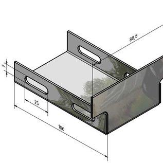 Versandmetall Verbindingen Eindstukken voor Drainagegoten afvoerkanalen Form A roestvrij staal met rooster breedte inlaat  90 tot 140mm