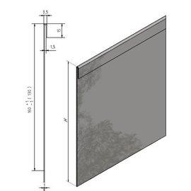 Versandmetall graskanten dubbele bovenrand roestvrij Staal, hoogte 160 - 250 mm