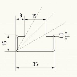 Versandmetall RVS C-Profiel klein dikte 1,0 mm hoogte 15mm breedte 35mm Lengte van 1000mmtot 2500 mm Roestvrij Staal oppervlakke geschuurd