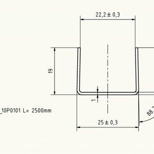 Versandmetall LED U-Profiel, axb 19mm, c= 25/24, 2mm, (binnen 22,2 +/- 0,3mm) Dikte 1,0 mm, lengte 2500mm, oppervlakke geschuurd