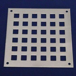 Versandmetall 5er Set Lüftungsgitter Quadratloch100x500x1,5mm Edelstahl Schliff Korn 320
