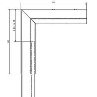 Versandmetall Gooten P1 bakgoot gootprofiel binnenhoek 90° gemaakt van roestvrij Staal 1.4301 buitenzijde geschuurd