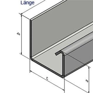 Versandmetall Goot P1 bakgoot gootprofiel buitenhoek 135° gemaakt van roestvrij Staal 1.4301 buitenzijde geschuurd