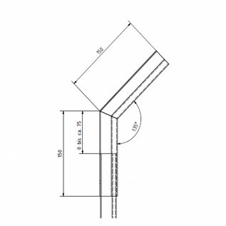 Versandmetall Regenrinne P1 - Innen-Eckverbinder 135° - aus Edelstahl 1.4301 außen Schliff K320