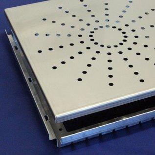 Versandmetall Drain-Gully Rahmen inkl. Einlaufrost 1,5mm Edelstahl außen Schliff K320