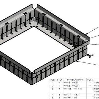 Versandmetall Afvoer drainage geul montuur Hoogte variabel 70-95mm gemaakt van 1,5 mm aluminum zonder inlaatrooster