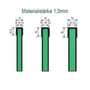 Versandmetall Glasrandprofiel Randbescherming Borstwering Balkon roestvrij staal dikte 1,0mm, lengte tot 2500 mm voor glas van 8mm tot 21,5mm dikte