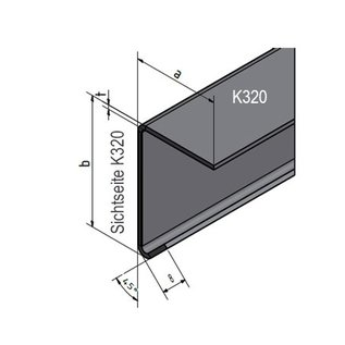 Versandmetall Hoekprofiel 90° L-Profiel met druiprand binnen dikte 1,0 of 1,5 mm 20 mm tot 70 mm Lengte tot 2500 mm Oppervlakke geschuurd