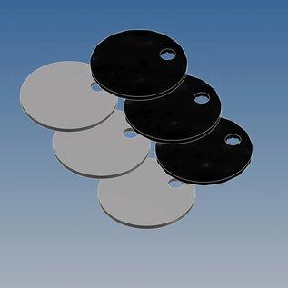 Versandmetall Aluminium rond blank 1,0 mm dik, D = 20 mm 3,2 mm gat - natuurlijk E6 / EV1 geanodiseerd