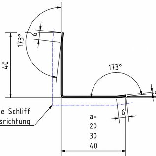 Versandmetall Protection arête angle, pas isocèle, á 3 plis, longueur 1.250mm, surface brossé  en grain 320