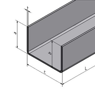 Versandmetall Profil en U, en aluminium, pliée, largeur c= jusqu'à 30mm et longueur 2.000mm