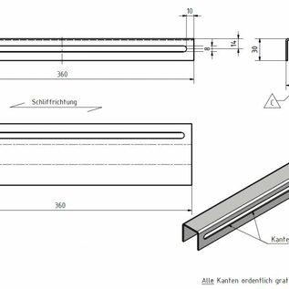Versandmetall Profil en U, en acier inoxydable, hauteur axbxc= jusqu'à 30x31x30mm,2mm, longueur 360mm, surface brossé en grain 320