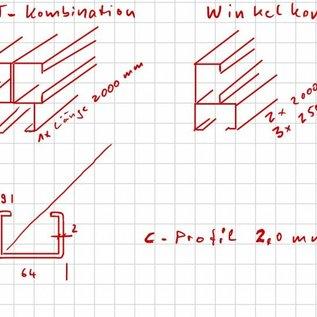 Versandmetall -Set C- Profile axcxb 44x64x44mm t=2,0mm Längen 7x2000mm; 6x2500mm; - Aussen geschlifffen/gebürstet K320 als Kombination zusammengeheftet nach Skizze