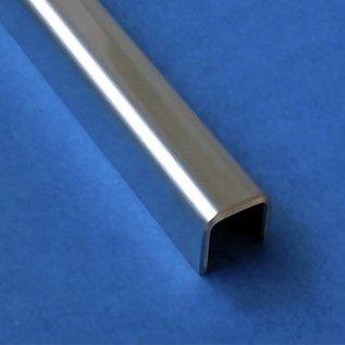 Versandmetall Glasprofiel U - Profiel gemaakt van roestvrij Staal, ,voor Balkonhekwerk of Balustrade van Glas lengtes tot 2500 mm vor Glasdickte van 8 mm tot 12,52 mm
