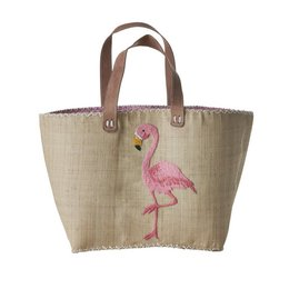Rice Large  Shopping Bag with Pink Flamingo Embroidery