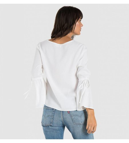 Bella Dahl Tie Bell Sleeve Top White