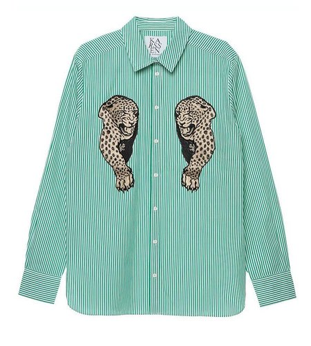 Zoe Karssen Panther Patch Shirt Antique Green Optical White