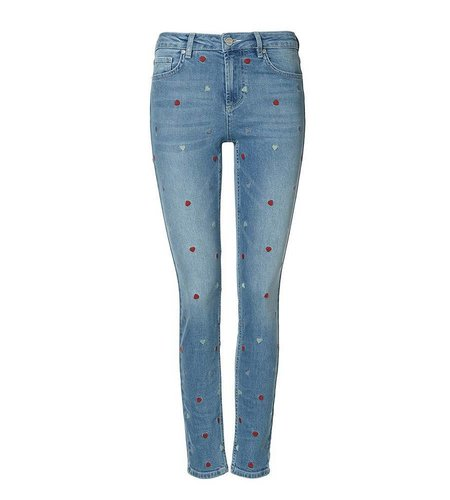 Zoe Karssen All Over Heart Embroidery Skinny Mid Wash Blue
