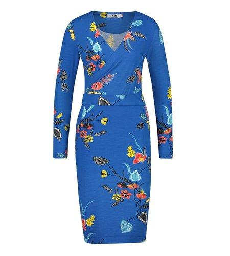 IEZ! Dress Wrap Jersey Print Blue