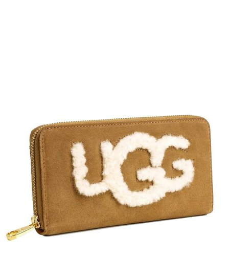 UGG Honey Zip Around Wallet Sheep Chestnut