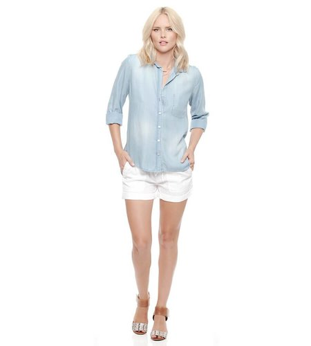 Bella Dahl Shirt Tail Button Down Faded Light Wash