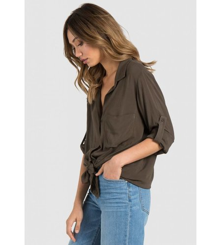 Bella Dahl Longsleeve Shirt Tail Button Down Army Olive