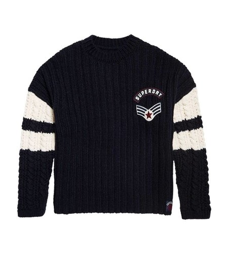 Superdry Midwest Varsity Slouch Knit Navy