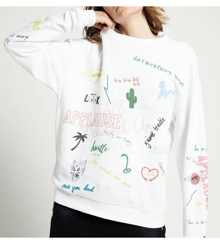 Zoe Karssen Scribble All Over Sweater Optical White