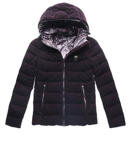 Blauer Down Jacket With Hood In Velvet Blackberry