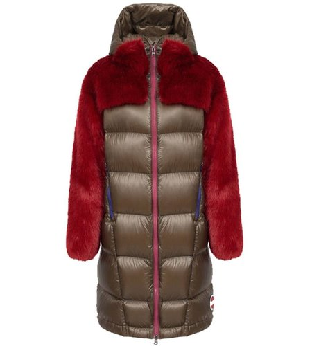 Colmar Long Down Jacket With Faux Fur