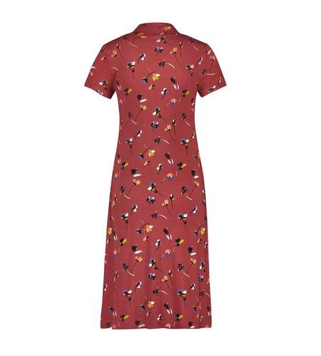 IEZ! Dress Bow Jersey Print Dark Red Flower