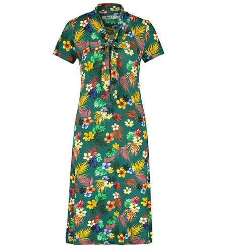 IEZ! Dress Bow Jersey Print Petrol Flower