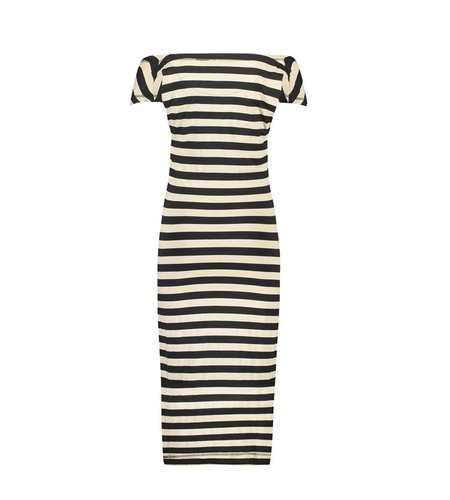 IEZ! Dress Drappy Jersey Print Stripe Black Camel