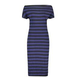 IEZ! Dress Drappy Jersey Print Stripe