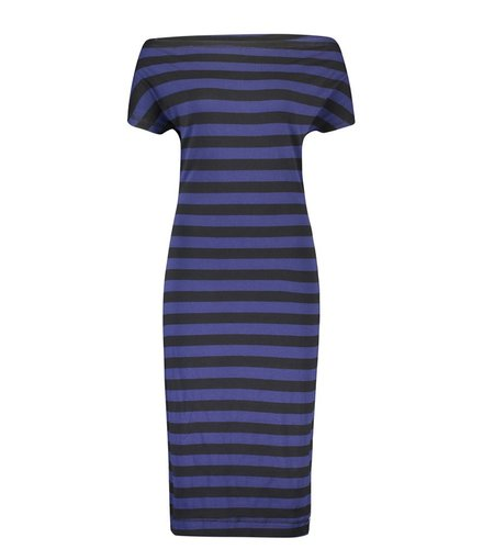 IEZ! Dress Drappy Jersey Print Stripe Black Dark Blue