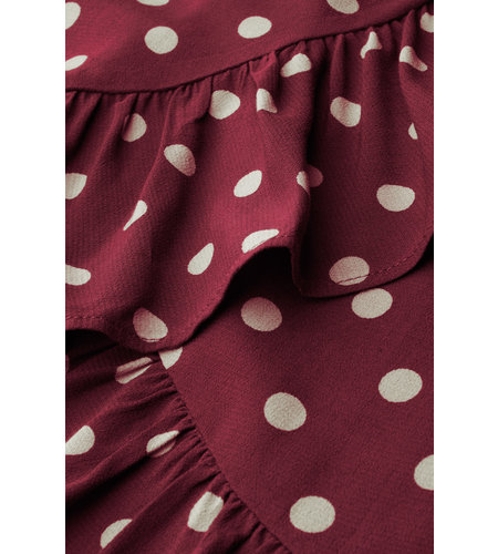 King Louie Ruffle Shirt Polkadot Windsor Red