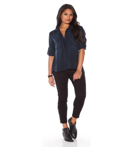 Bella Dahl Split Back Button Down Blackdigo