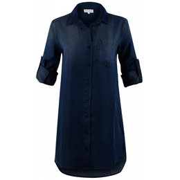 Bella Dahl Roll Tab Pocket Shirt Dress Blackdigo