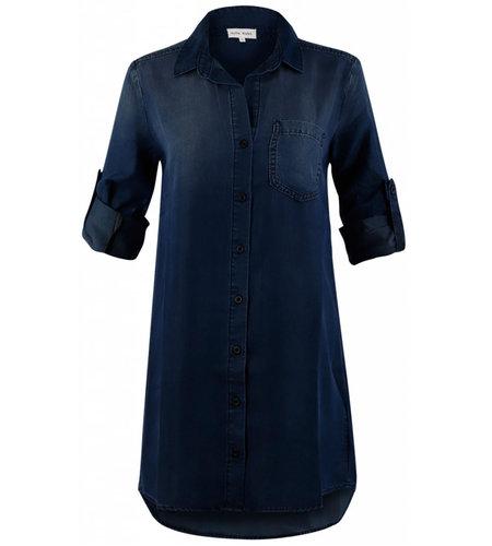 Bella Dahl Roll Tab Pocket Shirt Dress Blackdigo