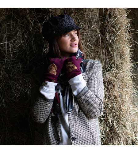 Birds On The Run Knitted Printed Touchscreen Gloves Red