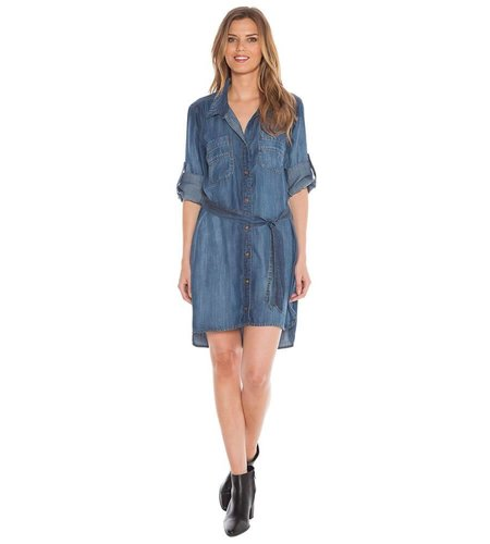 Bella Dahl Two Pocket Belted Shirt Dress Evening